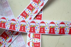 """Bright primary rainbow gumball machines on 7/8"""" grosgrain ribbon- spring"""