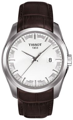 Tissot Couturier Men's Quartz Silver Dial Watch with Brown Leather Strap Tissot Mens Watch, Cute Watches, Bracelet Cuir, Luxury Watches For Men, Beautiful Watches, Quartz Watch, Omega Watch, Rolex Watches, Display