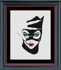 Catwoman Cross Stitch Pattern - Superhero Counted Cross Stitch Pattern (or is she a villain? You decide!) - INSTANT DOWNLOAD