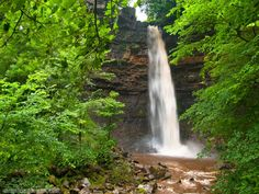 Photo of Hardraw Force waterfall. Photo of the day, featuring travel and scenery from England, Scotland, and Wales. Free Windows and Mac desktop wallpaper images of UK locations.