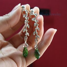 Fern Green Swarovski crystal earrings with silver vines on Etsy, $15.39
