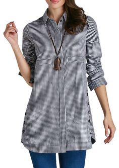 Plaid Print Turndown Collar Button Up Curved Shift Gingham Shirt, street style shirt dress with nice fabric, make you cute and fashion.