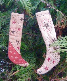 Primitive Quilt Stockings-Set of 2 Miniature Folk by FolkArtWorks
