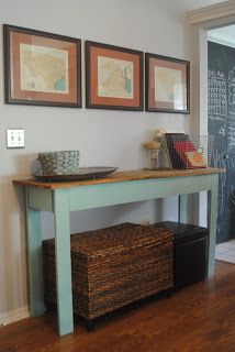 """We had this big empty wall in between our """"entry way"""" and kitchen walk  through, off of the living room. I had three maps hanging (more on ..."""