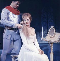 Julie Andrews and Robert Goulet, in the original Broadway production of Camelot. 1960.