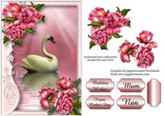 Serene Swan With Glory Roses on Craftsuprint designed by Anne Lever - This lovely topper features a beautiful swan within a soft flourish frame and gorgeous glory roses. It has a single layer of decoupage to add depth, four greetings to choose from and a blank greetings tile. The greetings are birthday wishes happy mothers day, mum and nan.  - Now available for download!