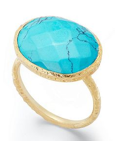 Studio Silver 18k Gold Over Sterling Silver Ring, Simulated Turquoise Ring - Rings - Jewelry & Watches - Macy's