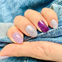 I Want Scandi (the lightest purple here) is a new limited edition shade launched with Color Street. Its combined with Glamsterdam and Ibiza Nights in this mani. I'm stocking up because this glitter is amazing! #colorstreet #nails #glitter #manicure Dry Nail Polish, Glitter Nail Polish, Glitter Manicure, Nail Color Combos, Nail Colors, Get Nails, Hair And Nails, Beautiful Nail Designs, Color Street Nails