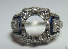 Antique Diamond Engagement Setting Platinum Hold 6.5mm Ring Size-3.75 UK-G1/2 #ENGAGEMENTSETTINGWITHDIAMONDS
