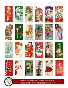 24  1 x 2 inch Instant Digital Download for Vintage Christmas Images for Domino Pendants, Gift Tags, and other paper crafting projects Vintage Christmas Crafts, Vintage Christmas Images, Christmas Gift Tags, Retro Christmas, Kids Christmas, Xmas, Domino Crafts, Domino Art, Scrabble Art