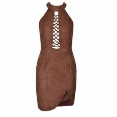 Lace Up High Neck Mini ($46) ❤ liked on Polyvore featuring dresses, short dress, vestidos, lace front dress, mini cocktail dress, laced up dress, laced dress and white dress