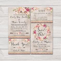 Floral bohemian Wedding Invitation by HappyLifePrintables on Etsy