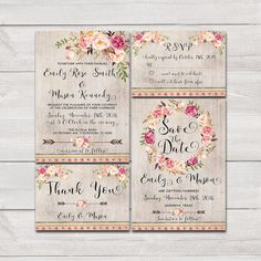 Floral bohemian Wedding Invitation by HappyLifePrintables on Etsy