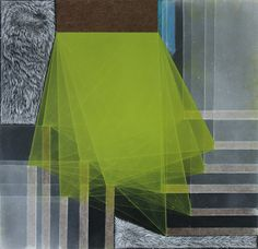 """Emmy Mikelson, Threshold Composition no. 6, 11.5x11.75"""", Gouache, oil and ink on panel, 2013"""