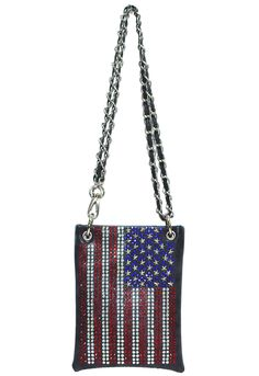 American Flag Mini Messenger Bag Rhinestone Fashion Waist Purse Short Should Side Handbag Hh437-6 Black. MANY WAYS TO WEAR, CROSS BODY, WAIST PURSE, SHORT SHOULD SIDE PURSE. ADJUSTABLE CHAIN MAKE ANY SIZE YOU WANT. INSIDE: CELL PHONE, CREDIT CARDS, FOR EASY CARRY. MINI BODY SIZE: 6.50X8.00X1.00 INCH HANDLE HIGH: 12-25 INCH. HIGH QUALITY PVC LEATHER. SHINNY GLASS RHINESTONE. METAL BEADS STAINLESS STEEL.