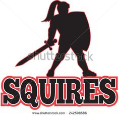 """Illustration of a silhouette of a knight in full armor holding sword and shield on isolated white background done in cartoon style with text wording """"Squires"""" - stock vector #knight #retro #illustration"""