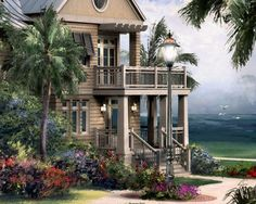 Beach House - nautical architectural ocean side cottage | RedCreekDesignCo - Painting on ArtFire