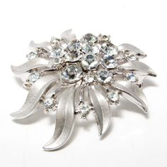Vintage Signed Crown Trifari Brooch Brushed and Shiny Silver Tones with Clear Sparkling Rhinestones
