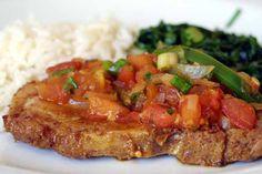 RECEITAS DA VOVÓ: Bisteca de porco ao molho de tomate de Microondas