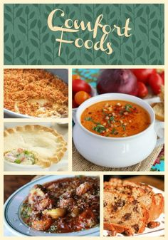 Round up of simple, satisfying comfort foods. These will warm you up on cold nights!