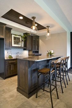 shaker style custom cabinets, crown molding, panel ends, panelized ends, basement bar