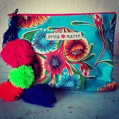 Small Clutch Pouch in Mexican Vintage Print Oilcloth by EricaMaree