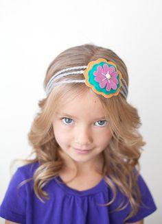 Wool Felt Flower Headband - Girls Floral Headband - Orange, Teal, Lavender, Gray - Crochet Headband. $18.50, via Etsy.