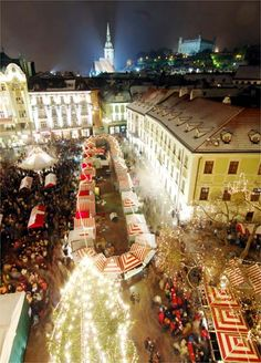 Bratislava, Slovakia, Christmas Market places-to-see Albania, Oh The Places You'll Go, Places To Travel, Beautiful World, Beautiful Places, Montenegro, Christmas Destinations, Bratislava Slovakia, Christmas Markets Europe