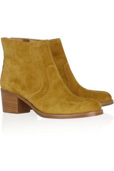 Stacked wooden heel measures approximately inches Amber suede Stitched panels, round toe Burnished bronze side zip fastening Designer color: Yellow Wedge Boots, Suede Ankle Boots, Suede Booties, Wedge Heels, School Run Style, Pretty Shoes, Super Skinny Jeans, Designer Shoes, Me Too Shoes