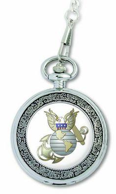 mens harley davidson pocket watch by bulova 76a136 men s h d u s marine corps medallion pocket watch chain u s marine corps 22 50