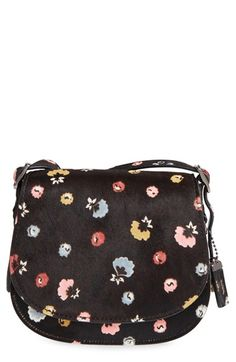 COACH 1941 '23' Flower Print Genuine Calf Hair Saddle Bag
