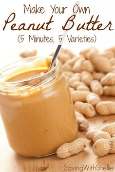 How to make your own peanut butter in just 5 minutes. No junk. No preservatives. See recipes for Creamy, Chunky, Cinnamon-Raisin, Honey and Chocolate Peanut Butter. You'll never buy store bought again! (peanut butter dessert recipes how to make) Comida Diy, Do It Yourself Food, Homemade Peanut Butter, Recipe For Peanut Butter, Honey Peanut Butter, Making Peanut Butter, Good Food, Yummy Food, Vegan Recipes