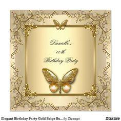 Elegant Birthday Party Gold Beige Butterfly