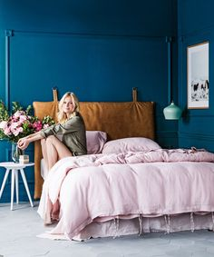 "**Moody romantic** Mix different textures like sumptuous linen and natural leather with dramatic blue-green walls for a sophisticated, intimate space. Piper **bedhead**, $1470, from [Heatherly Design Bedheads](http://www.heatherlydesign.com.au/?utm_campaign=supplier/|target=""_blank""). Linen **quilt cover set** in Blush (includes 2 pillowcases), $269 for queen, flat sheet in Blush, $140 for queen, all from [I Love Linen](http://www.ilovelinen.com.au/?utm_campaign=supplier/