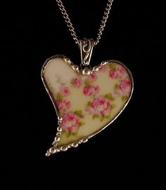 Broken china jewelry heart necklace pendant antique French china with tiny pink roses