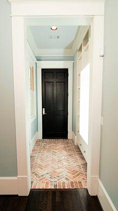 Craftsmen Style Entryway With Crown Molding Built Ins Recessed Lighting Herringbone Brick Floors #Bright #White #Light