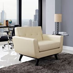 - Engage Bonded Leather Armchair in Beige