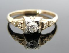 Lovely Two Tone 1940s Illusion Head Diamond by MSJewelers on Etsy, $645.00