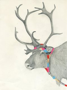 Con capucha renos Print de Lisa Congdon