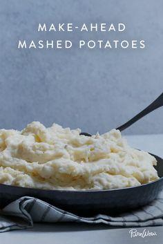make ahead mashed potatoes liz andrew 29 Thanksgiving Recipes, Holiday Recipes, Thanksgiving Sides, Christmas Desserts, Dinner Recipes, Potato Recipes, Vegetable Recipes, Mash Potato Dishes, Make Ahead Mashed Potatoes