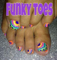 Summer Nail Designs - My Cool Nail Designs Funky Nail Designs, Funky Nail Art, Funky Nails, Nail Art Designs, Toe Designs, Pedicure Nail Designs, Fingernail Designs, Pedicure Nails, Pretty Toe Nails