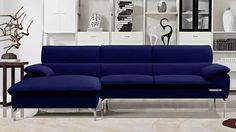 Sapphire Blue Sectional Set with Chaise | Zuri Furniture #ZuriFurniture