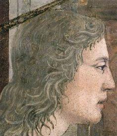 Piero della Francesca - Storie della Vera Croce: Annunciazione, dettaglio Angelo - affresco - 1452-1466 - Cappella Maggiore, Basilica di San Francesco, Arezzo