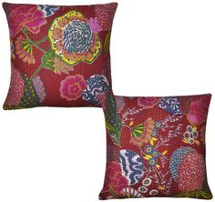 """Indian Block Printed Cushion Covers Cotton Pillow Cases Covers Pair 16x16"""" Throw #LalHaveli"""