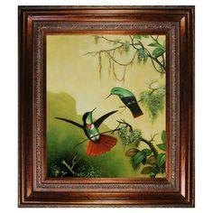 Hooded Visorbearer Hummingbirds by Heade Framed Canvas Reproduction