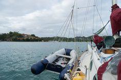 hoisted dinghy