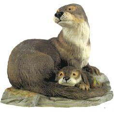 Otters Porcelain Sculpture by Boehm Porcelain