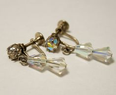 Vintage crystal drop earrings. Ab crystal by chicvintageboutique