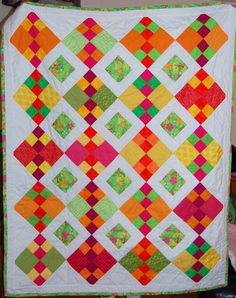 Handmade Bright Colors Quilt by StormyDays on Etsy