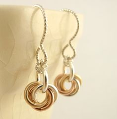 Sterling Silver, 14kt Rose and Yellow Gold Little Cuties Earrings...these would be perfect for bridesmaids!